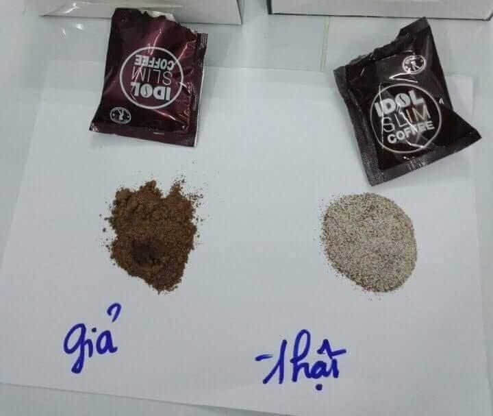 phân biệt cafe giảm cân idol thật giả qua bột cafe
